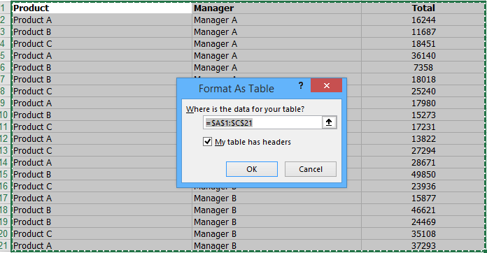 Convert tabular format into Excel Data Table - Step by Step